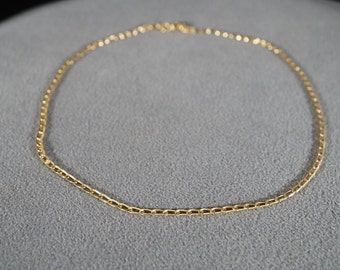 Vintage Sterling Silver Yellow Gold Overlay Multi Oblong Link Necklace Chain   #420      **RL