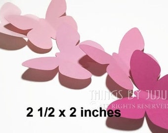 30 Large Pink Butterfly Die Cuts, Paper Butterfly, Butterfly Decor, Baby Shower Decor, Butterfly Party (2 1/2 x 2)