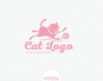 Simple Cute Cate Logo- playing with a yarn ball - Animal Products Logo - Happy Cate logo -  knitting- pet store and animal food Logo Design