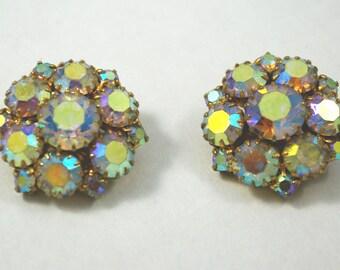 Vintage aurora borealis clip earrings, ca. 1960s