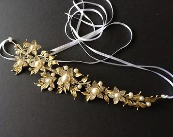 Gold Flowers and Pearls Bridal Bridesmaids Swarovski rhinestones crystals Hair Headband Tiara