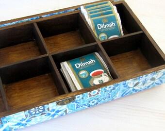 Blue  wooden tea box with glass lid, boho box jewelry storage  ,  morrocan decor ,  box organizer , marrakesh decor , box 8 compartments