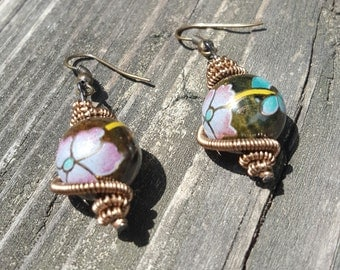 Floral WireWrapped Earring
