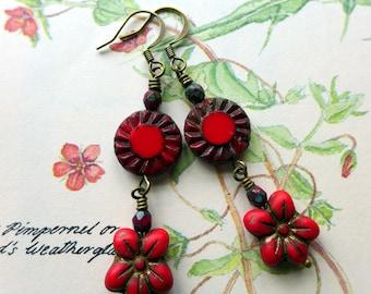 Czech Glass Earrings, 'Scarlet Pimpernel', Vintage Style Earrings, Rustic Earrings, Red Earrings, Boho, Handmade, Red Flower Earrings