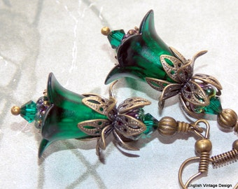 Lucite Earrings, Flower Earrings, 'Envy', Victorian Earrings, Boho Earrings, Drop Earrings, Filigree Bronze, Hand Painted, Green Earrings