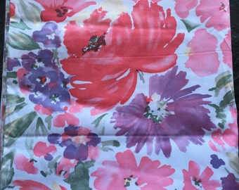 """Large Floral Printed Cotton Sateen Fabric // 60x44"""", unused > pinks, purples, greens, abstract flowers"""