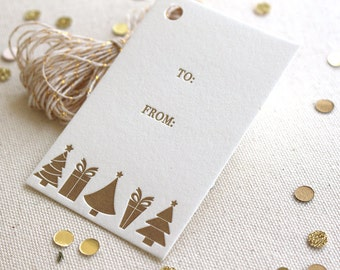 Letterpress Gift Tags - Trees and Presents, Christmas, Holiday, Gold ink, Set of 10, Ready to Ship!