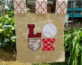 Baseball Love Burlap Small Garden Flag