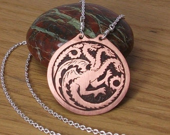 House Targaryen copper etched pendant, Game of Thrones pendant , dragon necklace, cosplay jewellery