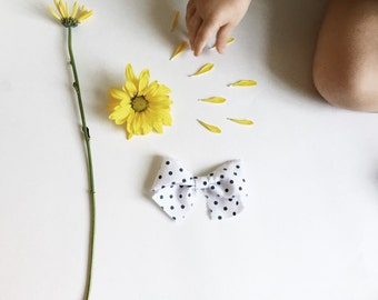 Frayed Polka Dot Bow, Fabric Bows, Cotton Bows, Baby Headband, Bows, Baby Bows, Handmade, Nylon