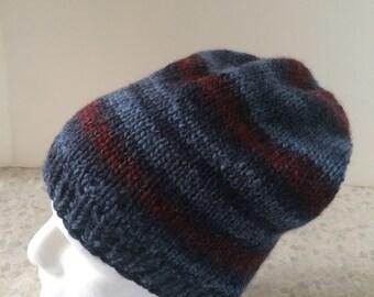 Hand Knit Men's Slouchy Hat, Wool/Acrylic Blend