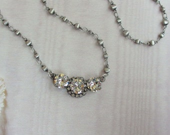 Vintage Style Necklace in antique silver and Swarovski Crystals