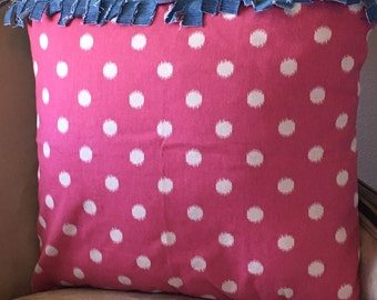 Pink Polka Dot Pillow Cover 18 x 18 inch Pillow Cover Teen Girl Pillow Cover Denim Pillow Cover Girl Pillow Cover Zipper Pillow Cover