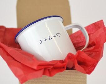Personalized enamel mug... Custom enamelware mug Valentine's Day gift idea, gift for wedding, or engagement gift