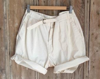 vintage summer natural cream white cotton shorts