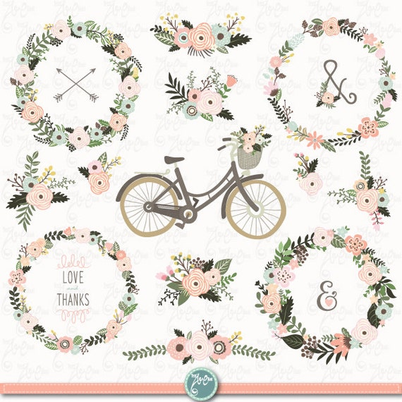 Vintage Floral Wedding WEDDING WREATH Clip Art Rustic