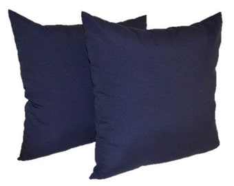 """Set of 2 Pillow Covers ~ Navy / Dark Blue Solid 20"""" Decorative Pillow Covers ~ Indoor / Outdoor Fabric"""