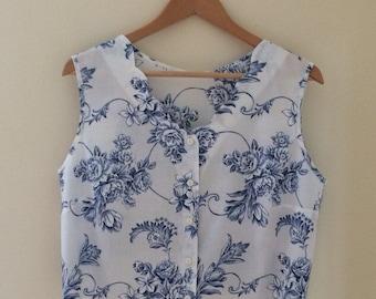 Vintage 1980's Cropped Floral Shirt