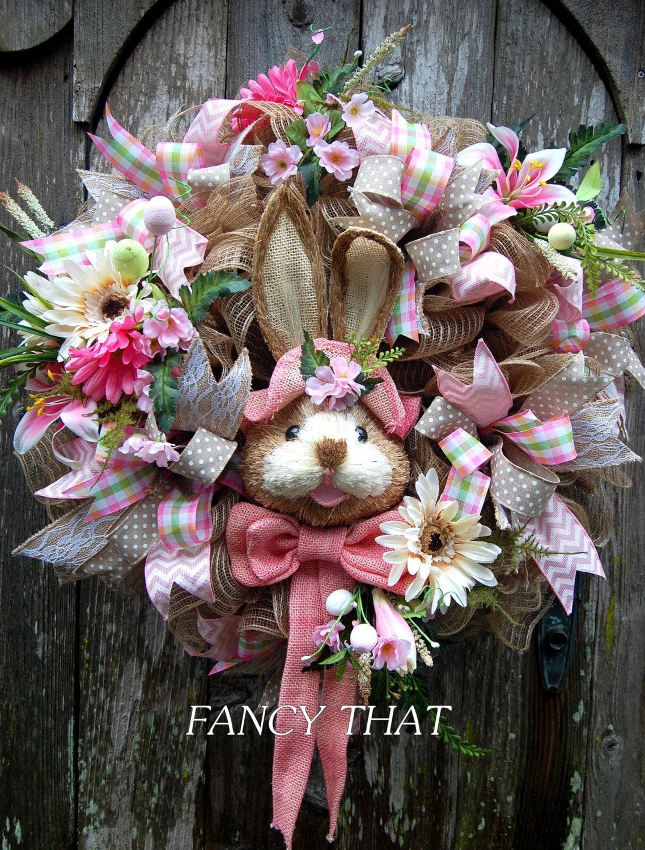 Easter Bunny Wreath Easter Wreath Deco Mesh Easter Wreath