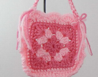 18 Inch Doll Pink Granny Square Purse