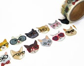 Cats in Glasses Wide Washi Tape by Aimez le Style 28mm