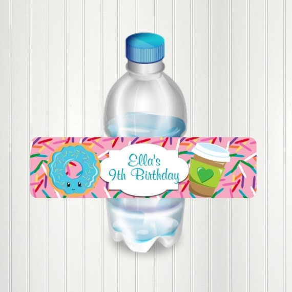 Donut Party Water Bottle Label Donut Bottle Label Donut