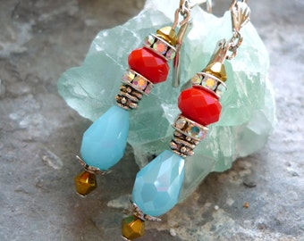 blue crystal earrings, red crystal earring, Downton Abbey earrings, vintage inspired earrings, boucles d'oreilles dormeuses, gift for her