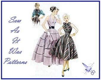 "1950s Simplicity 3957 Halter Neck Flared Skirt Dress Neck Bow Tie Crop Kimono Bolero Jacket Vintage Sewing Pattern Misses' Size 14 Bust 32"""