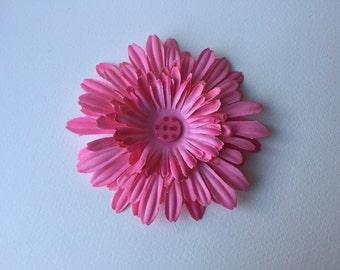 Pink sunflower hair clip w/ polla dot button
