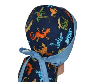 Surgical Scrub Hat Scrub Chef Vet Chemo Cap Front Fold Ponytail Scrub Hat -Gecko Lizzards Orange Blue Yellow Green 2nd Item Ships FREE