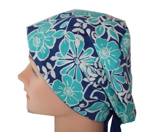 Scrub Hat Surgical Scrub Cap Chemo Chef Vet Nurse Dr Hat European Style Pixie Blue Floral Royal Teal White 2nd Item Ships FREE