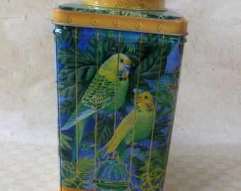 Vintage Tall Square Storage Tin Box For A Bird Watcher with Identification on the Bottom