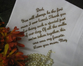 Personalized Wedding Handkerchief To Dad