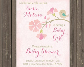 Bird Baby Shower Invitation, Feather the nest Baby Shower invitation, Pink Baby Bird Invite, Baby Girl Shower, printable or printed