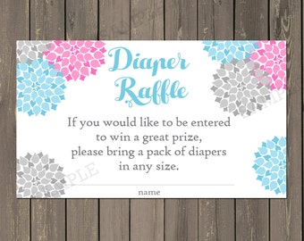 Diaper Raffle Ticket, Pink and Blue Diaper Raffle, Gender Neutral Diaper Raffle ticket with pink and blue flowers, Instant Download