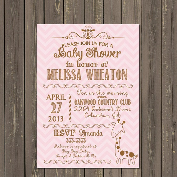 giraffe baby shower invitation, giraffe baby girl invitation, Baby shower invitation