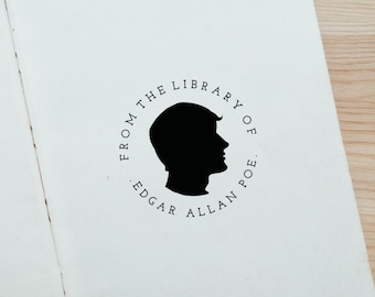 Personalised Custom From the Library of Male Cameo Rubber Stamp with Wood Handle