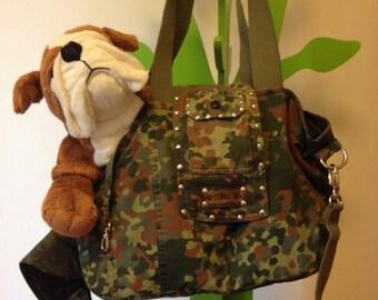 Borsa, bag for pet,gatti e cani trasportino con tracolla, militare, camouflage