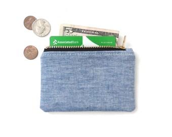 Chambray Wallet Coin Purse Zipper Pouch Blue