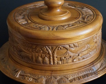 Vintage, Carved Wooden Cake Stand
