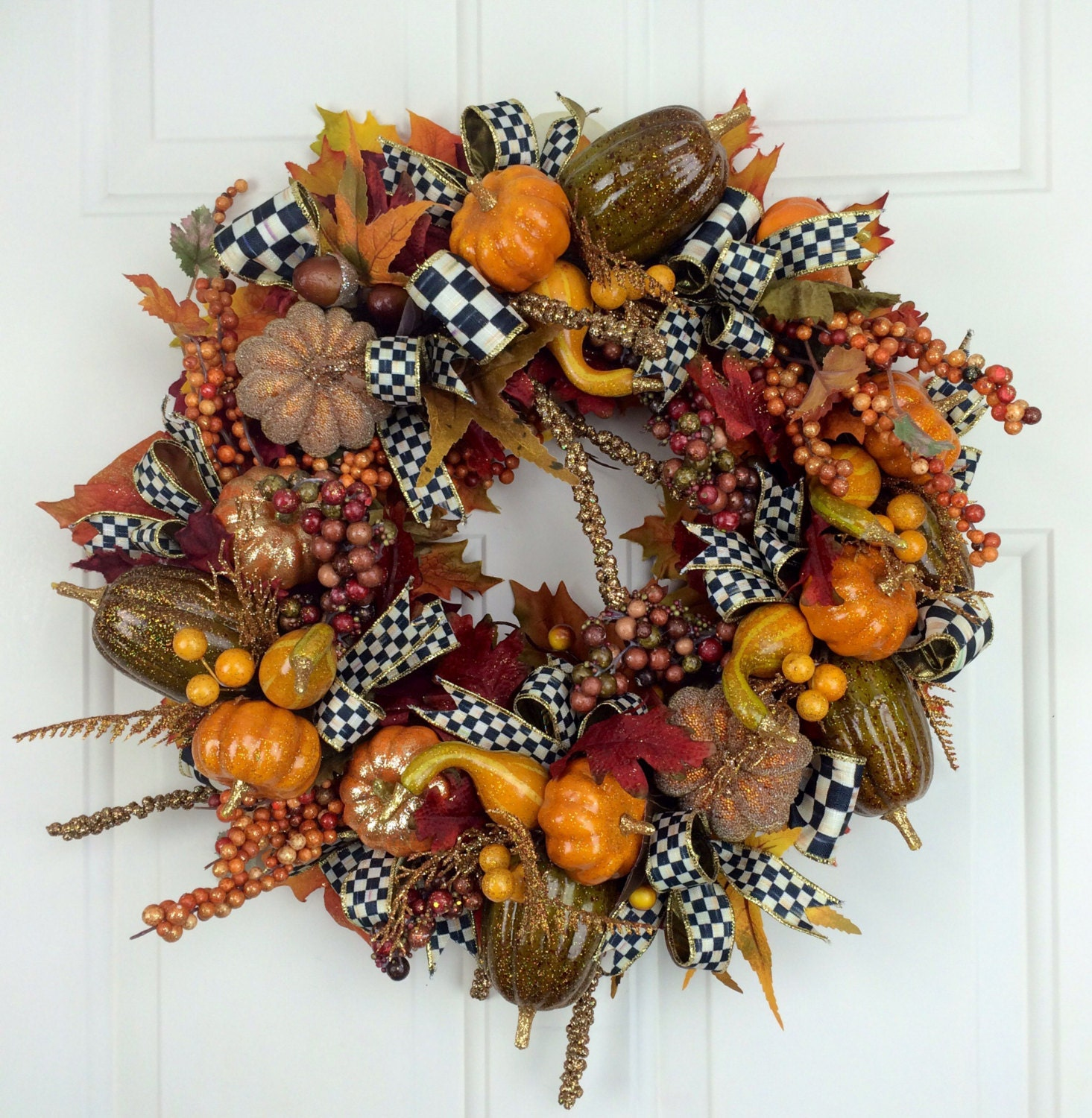 Mackenzie Childs Wreath Pumpkin Wreath Fall Wreath Autumn