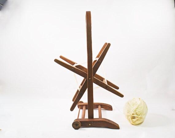 Wooden Knitting Wool Holder : Vintage wooden yarn winder floor holder by vintassentials