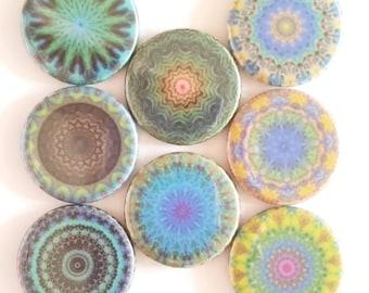 Mandala Magnets, Kaleidoscope Magnets, Refrigerator Magnets, Fridge Magnets, Premium Mandala Magnets, Teals Greens Mandala Magnets, Set of 8