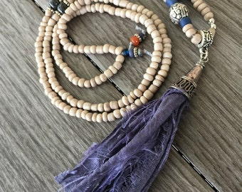 Sari Ribbon Tassel Necklace - Denim