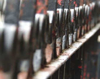 Abstract Photograph - Rusty Fence - Wrought Iron Fence - Architecture - New York Street Art - Rusty Red Gray - Wall Decor - Fence Photograph