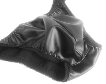 Men's Black Leather Look Bikini Brief, Low Riders, Pouched & Gathered Lingerie For Him