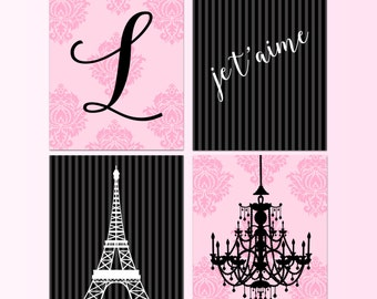 Sale Paris Theme Canvas Art Personalized Girls Room Set Of 4 Prints Canvas Gallery Wall