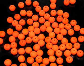 100pcs 4mm Czech Glass Round Pressed Beads ESTRELA NEON (UV Active) Orange (nr25122-4)