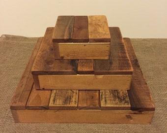 Mini cupcake stand, 3 small tiers, rustic, wood, wedding, display