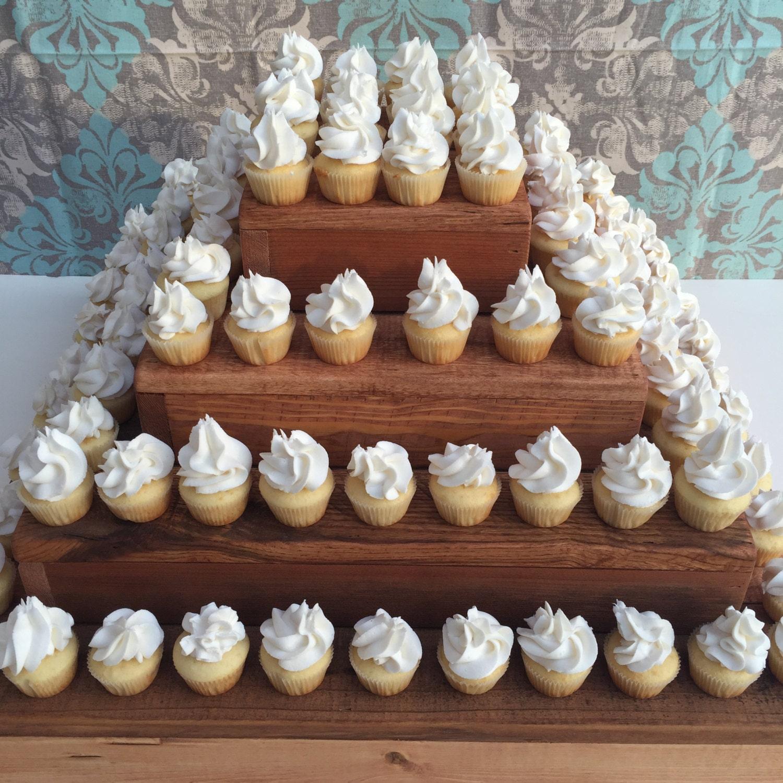 Mini Cupcake Stand Rustic Wedding Dessert Display Wood Cup